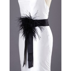 Simple Satin Sash With Flower/Feather