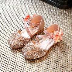 Jentas Round Toe Leather flat Heel Flower Girl Shoes med Bowknot Rhinestone Velcro