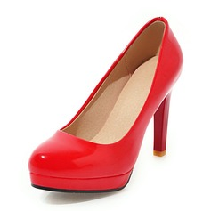 Women's Leatherette Patent Leather Stiletto Heel Pumps Platform shoes (085191907)