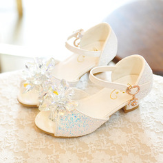 Jentas Titte Tå Leather lav Heel Sandaler Flower Girl Shoes med Bowknot Spenne (207204354)