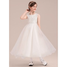 A-Line/Princess Ankle-length Flower Girl Dress - Organza/Satin Sleeveless Scoop Neck With Lace/Sequins