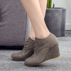 Women's Microfiber Leather Wedge Heel Ankle Boots With Lace-up shoes