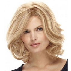 Attractive Medium Capless Fluffy Kinky Curly Synthetic Side Bang Women's Wig (046120984)