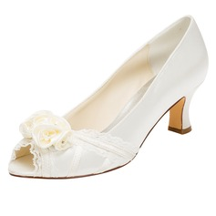 Women's Silk Like Satin Stiletto Heel Peep Toe Pumps With Flower