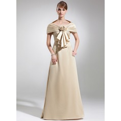 Empire Scoop Neck Floor-Length Satin Mother of the Bride Dress With Lace