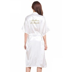 Personalized Bride Bridesmaid charmeuse With Knee-Length Personalized Robes (248163157)