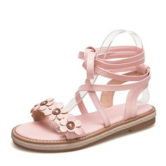 Women's Leatherette Flat Heel Sandals Flats With Flower shoes