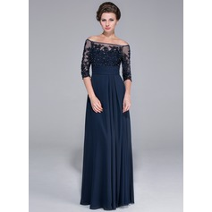 A-Line Off-the-Shoulder Floor-Length Chiffon Mother of the Bride Dress With Beading Appliques Lace Sequins