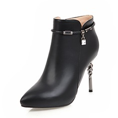Women's PU Stiletto Heel Pumps Closed Toe Boots Ankle Boots With Rhinestone Zipper Chain shoes