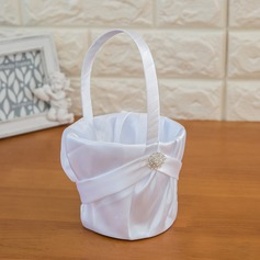 Pure Flower Basket in Satin With Ribbon & Faux Pearl