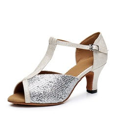 Women's Leatherette Sparkling Glitter Heels Sandals Latin With T-Strap Dance Shoes