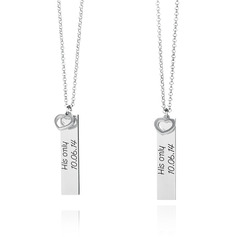 Custom Sterling Silver Engraving/Engraved Vertical Bar Necklace Nameplate With Heart (Set of 2) - Birthday Gifts Mother's Day Gifts