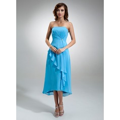 A-Line/Princess Strapless Asymmetrical Chiffon Bridesmaid Dress With Crystal Brooch Cascading Ruffles