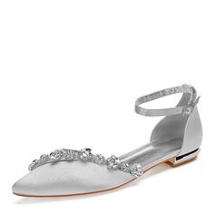 Women's Silk Like Satin Flat Heel Flats With Rhinestone Chain