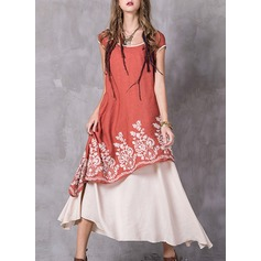 Cotton Blends With Stitching/Embroidery Maxi Dress (199136872)