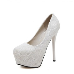 Women's Lace Stiletto Heel Pumps Platform Closed Toe With Others shoes