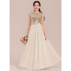 Empire Scoop Neck Floor-Length Chiffon Junior Bridesmaid Dress