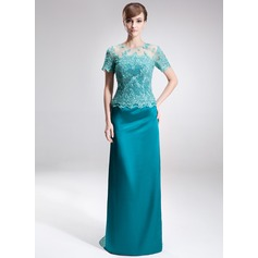 Sheath/Column Scoop Neck Sweep Train Charmeuse Lace Mother of the Bride Dress With Beading Sequins