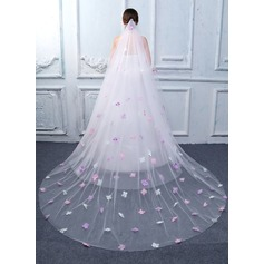 Two-tier Cut Edge Cathedral Bridal Veils With Applique