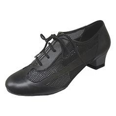 Women's Real Leather Heels Pumps Latin Ballroom Practice Character Shoes With Hollow-out Dance Shoes