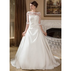 Ball-Gown Strapless Court Train Satin Wedding Dress With Ruffle