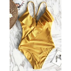 Fashionable Solid Color Triangle Polyester Spandex One-piece Swimsuit (202197986)