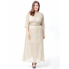 Polyester With Stitching Maxi Dress (199126195)
