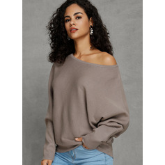 Couleur Unie Coton Off the Shoulder Pull-overs Pulls (1002228700)