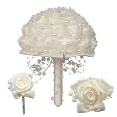 Round Satin/Imitation Pearl Flower Sets (set of 3) - Wrist Corsage/Boutonniere/Bridal Bouquets