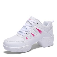 Women's Leatherette Real Leather Sneakers Modern Jazz Sneakers Dance Shoes