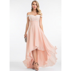 Off-the-Shoulder Asymmetrical Chiffon Prom Dresses With Sequins (272234599)