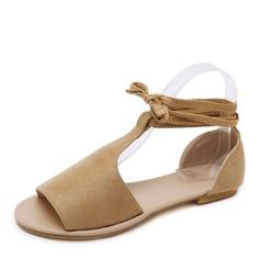 Frauen Veloursleder Flascher Absatz Sandalen Flache Schuhe Peep Toe mit Zuschnüren Schuhe