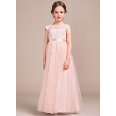 A-Line/Princess Floor-length Flower Girl Dress - Tulle/Charmeuse/Lace Sleeveless Scoop Neck With Bow(s)