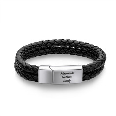 Custom Platinum Plated Men Braided Leather Bracelets - Gifts For Him (106250632)