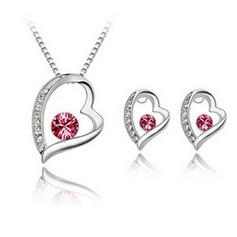 Sweet Heart Alloy/Crystal Ladies' Jewelry Sets
