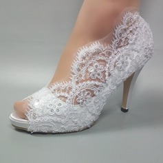 Women's Leatherette Stiletto Heel Peep Toe Pumps With Beading Stitching Lace