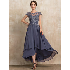 A-Line Scoop Neck Asymmetrical Chiffon Lace Cocktail Dress With Beading (016236975)