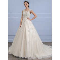 Ball-Gown Scoop Neck Court Train Tulle Lace Wedding Dress (002107819)