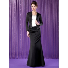 Trumpet/Mermaid Scoop Neck Floor-Length Satin Mother of the Bride Dress With Beading