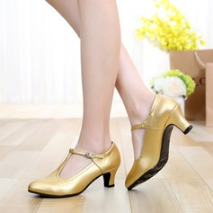 Real Leather Heels Pumps Ballroom With Buckle Dance Shoes