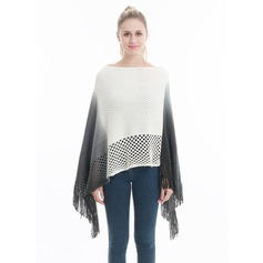 Tassel/Stitching Oversized/simple Artificial Wool Poncho