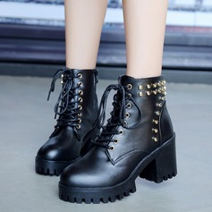 Women's Leatherette Chunky Heel Closed Toe Boots Ankle Boots Martin Boots With Rivet shoes