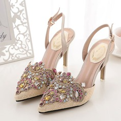Women's Suede Stiletto Heel Closed Toe Pumps Sandals Slingbacks With Buckle Crystal