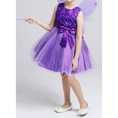 A-Line/Princess Knee-length Flower Girl Dress - Cotton Blends Sleeveless With Flower(s)/Bow(s)