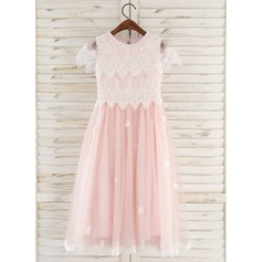 Tea-length Flower Girl Dress - Tulle Lace Short Sleeves Scoop Neck With Flower(s) (269197775)