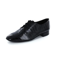 Men's Leatherette Heels Pumps Latin Modern Ballroom With Lace-up Dance Shoes