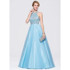 Ball-Gown Scoop Neck Sweep Train Tulle Prom Dresses With Beading Sequins (018075865)