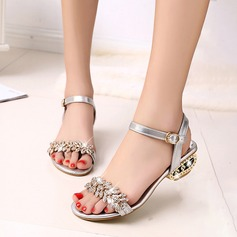 Women's PU Chunky Heel Sandals With Rhinestone shoes (087128036)