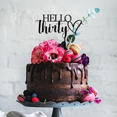 Hello Thirty Acrylic/Wood Cake Topper