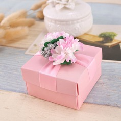 Flower Design Cubic Favor Boxes & Containers With Flowers